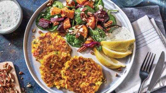 Spring Onion, Corn & Fetta Fritters
