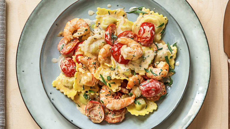 Lobster Ravioli and Shrimp