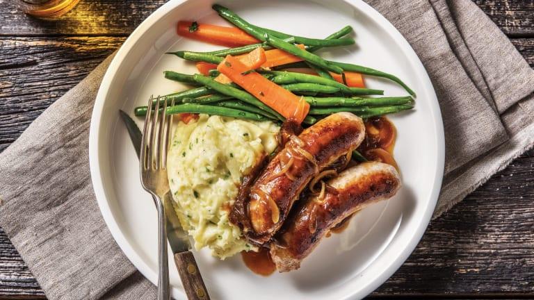 Classic Pork Sausages & Parmesan Mash
