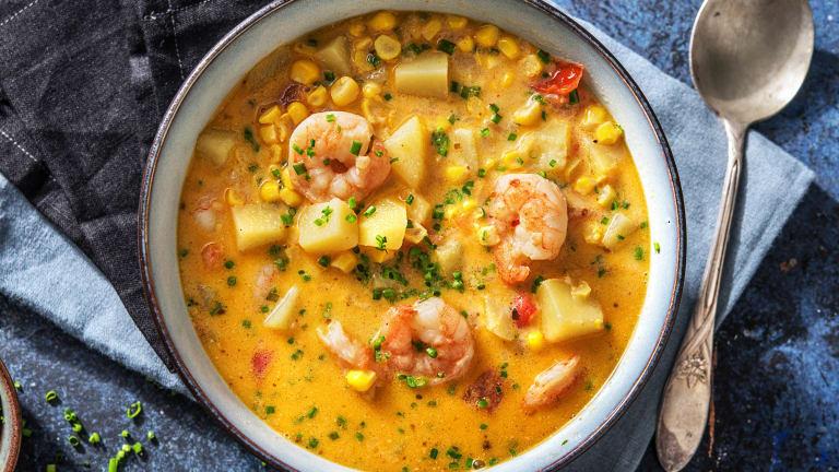 Romige soep met garnalen