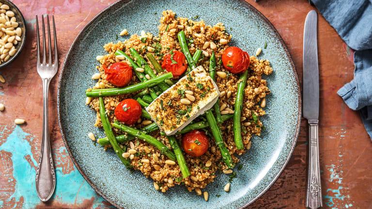 Kruidige quinoa met feta uit de oven