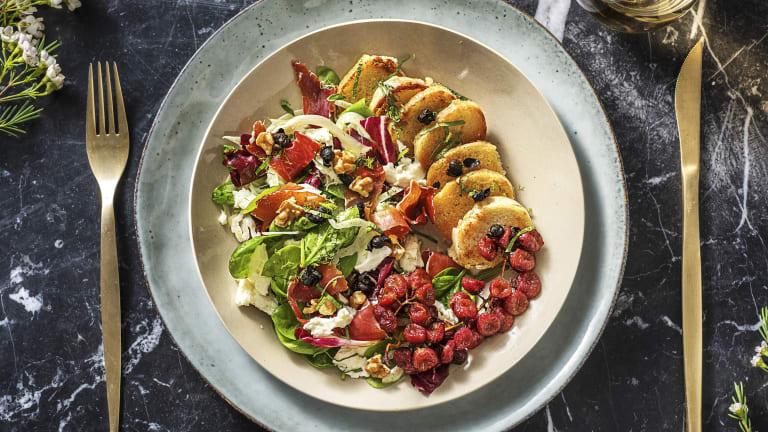 Salade met buffelmozzarella en serranoham