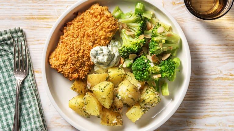 Krokante heekfilet met broccoli