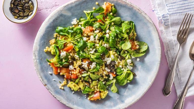 Salade couscous perlé à l'avocat et à la feta