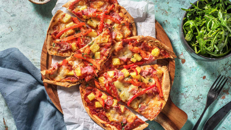 Pizza Hawaï sur pain plat