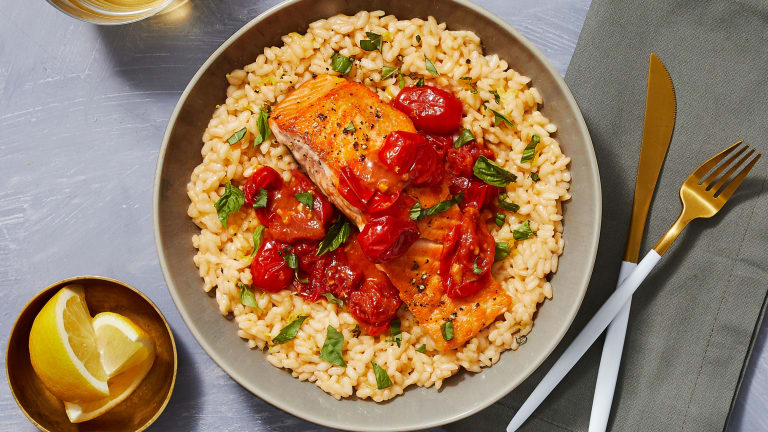Steelhead Trout over Basil Parm Risotto