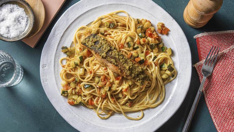 Filet de saumon et spaghetti au pesto