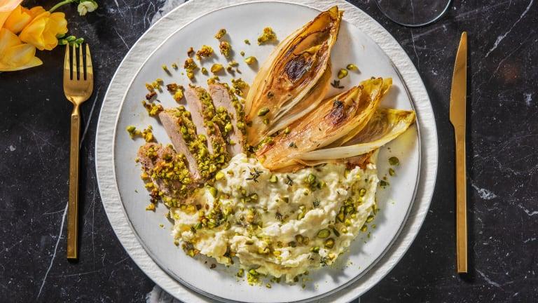 Filet de porc en croûte de pistache au thym