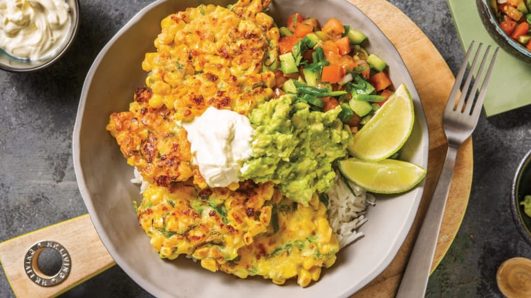 Loaded Mexican Corn Fritter Bowl