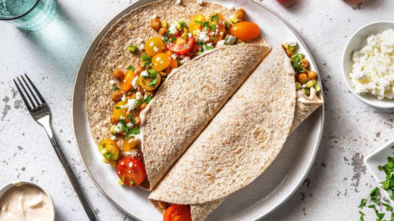 Tortilla's met gebakken kikkererwten en feta