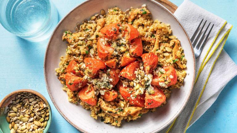 Tomatenbloemen gevuld met feta