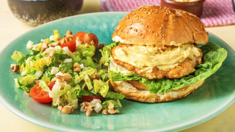 Hamburger de poulet, mayonnaise au vadouvan
