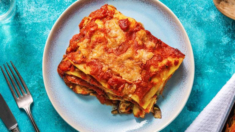 Lasagne met gegrilde groenten en buffelmozzarella