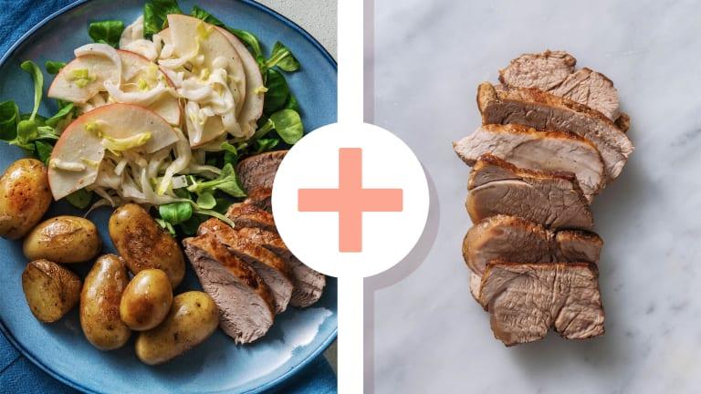 Varkenshaas met witlof-appel salade en krieltjes