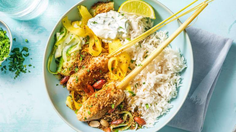 Brochettes de poulet et riz au lait de coco