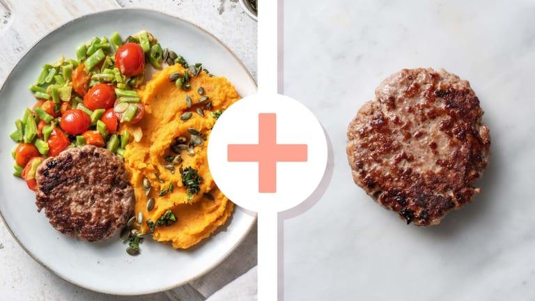 Steak haché en double portion et purée de patates douces piquantes