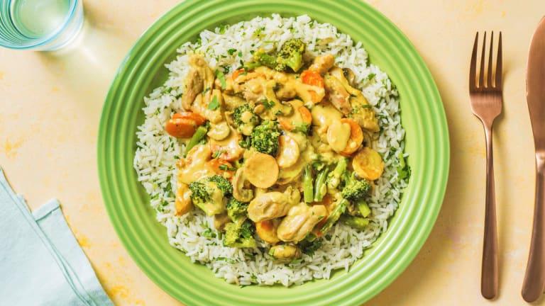 Mildes Hähnchencurry mit Gemüsemix