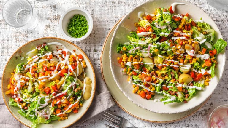 Krieltjessalade met mais en spekjes