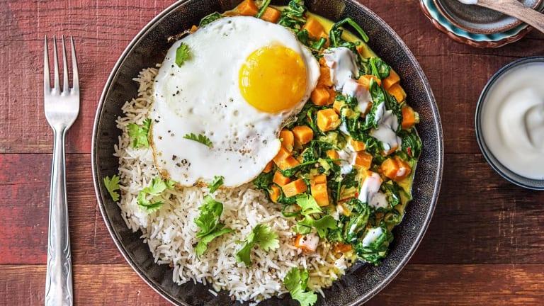Curry aux épinards et patate douce
