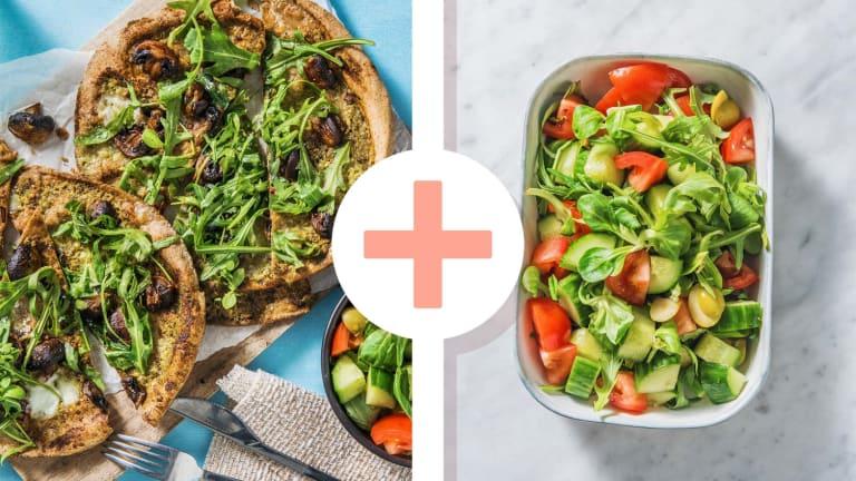 Pizza sur pain plat au pesto vert