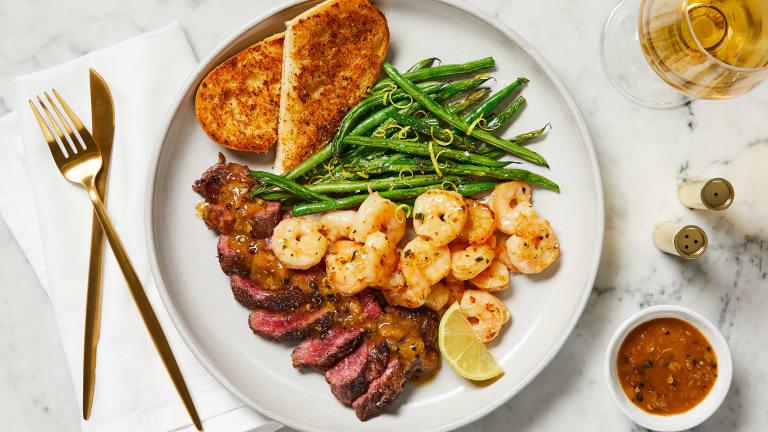Steak au Poivre & Garlic Herb Shrimp
