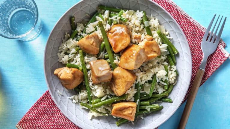 Poulet aux haricots verts, riz de chou-fleur et sauce douce asiatique
