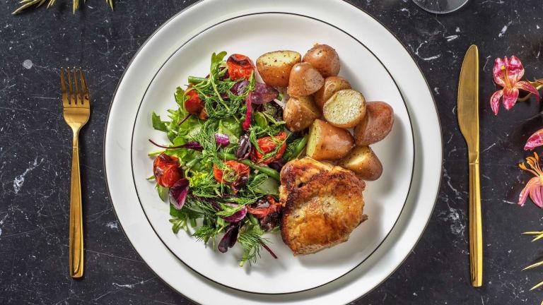 Cuisse poulet confite et pommes de terre Roseval légèrement citronnées