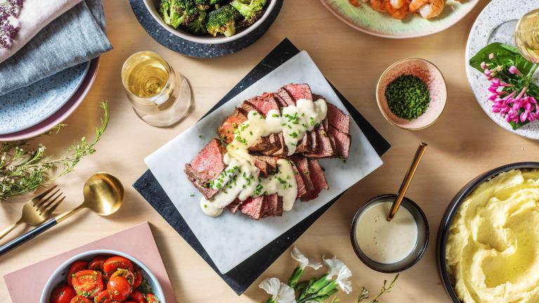 Terre et mer : crevettes et steak