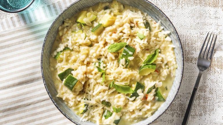 Pittige risotto met bleekselderij en courgette