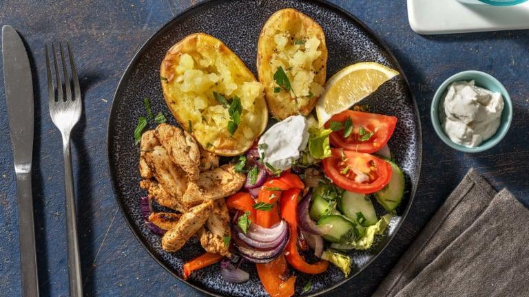 Hähnchen-Gyros mit Ofenkartoffeln