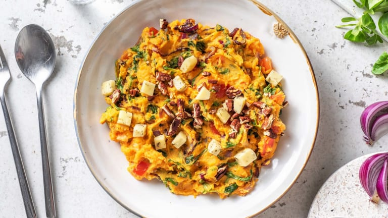 Zoete-aardappelstamppot met kruidenkaas