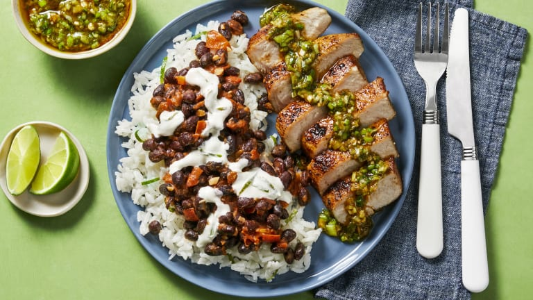 Pork Chops with Zesty Green Onion Salsa