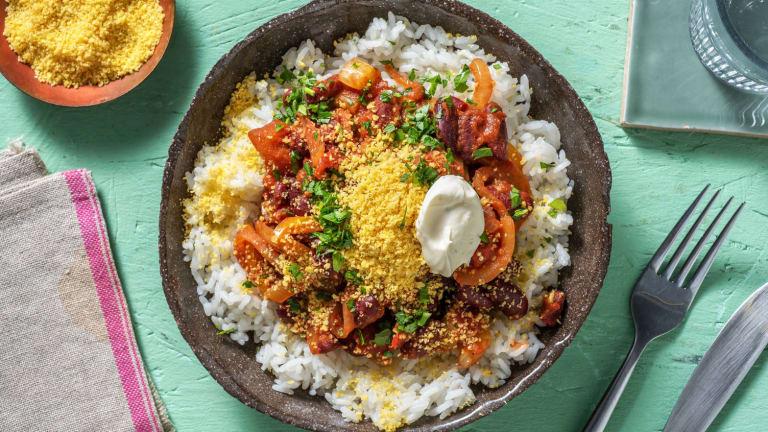 Bohnenpfanne mit Tortilla-Crunch