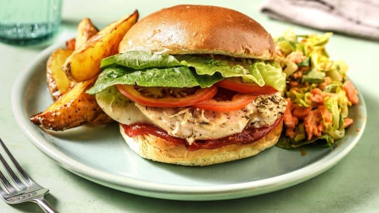 Hähnchenburger mit italienischem Hartkäse