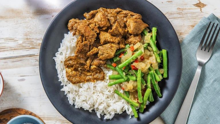 Rendang met rundvlees en pittige boontjes