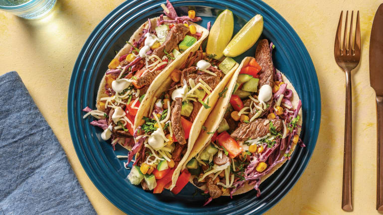 BBQ Beef Tacos with Slaw & Sour Cream