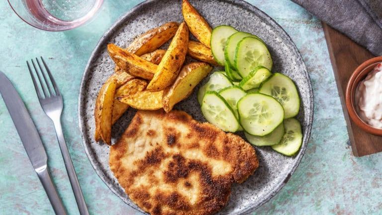 Schnitzel mit Ofenkartoffeln