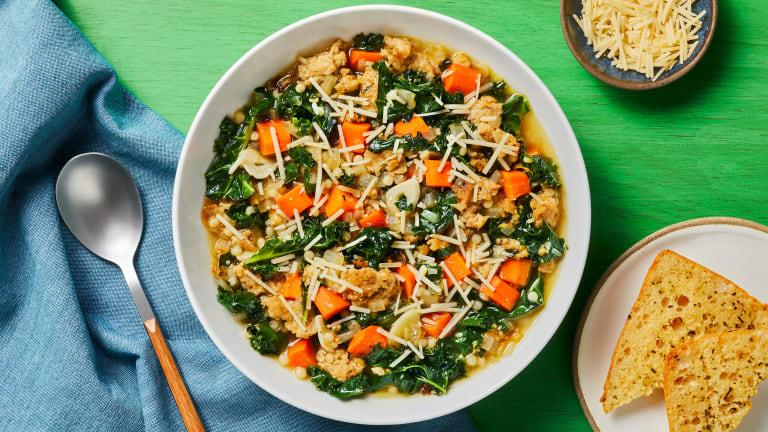Chicken Sausage, Couscous & Kale Soup