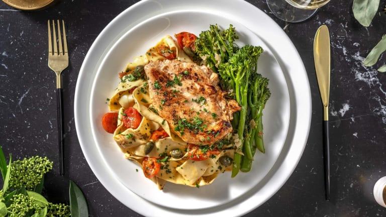 Piccata de poulet, pappardelle fraîches et broccolinis
