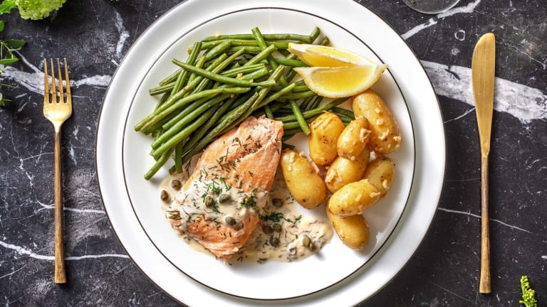Filet de saumon poché et haricots verts