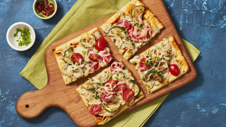 Roasted Garlic & Zucchini Flatbreads