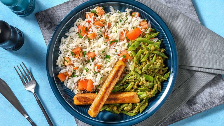 Saucisses de poulet et riz aux herbes