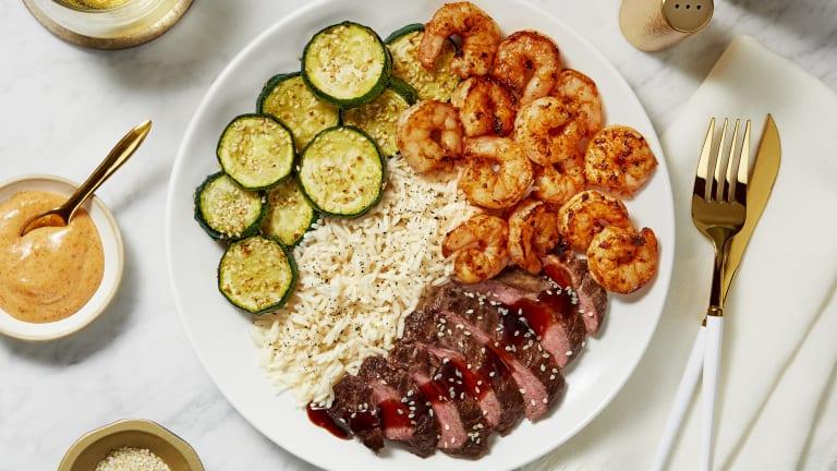 Hibachi Sweet Soy Bavette Steak & Shrimp