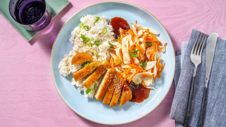 Rijstsalade met vegetarische schnitzel en sesam-gemberdressing