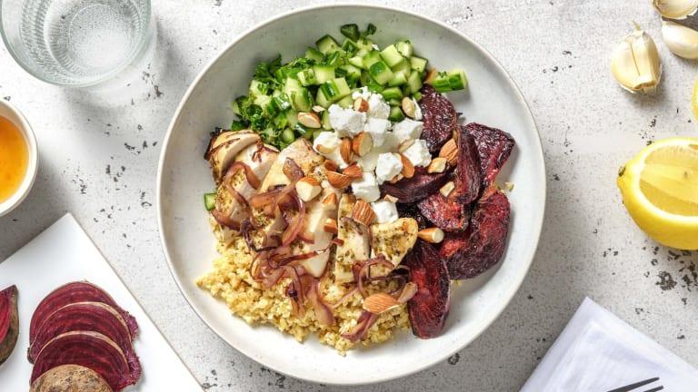 Bowl de boulgour au poulet et betterave rouge