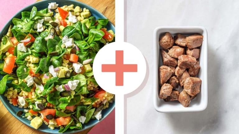 Salade de couscous perlé et émincés de bœuf en extra