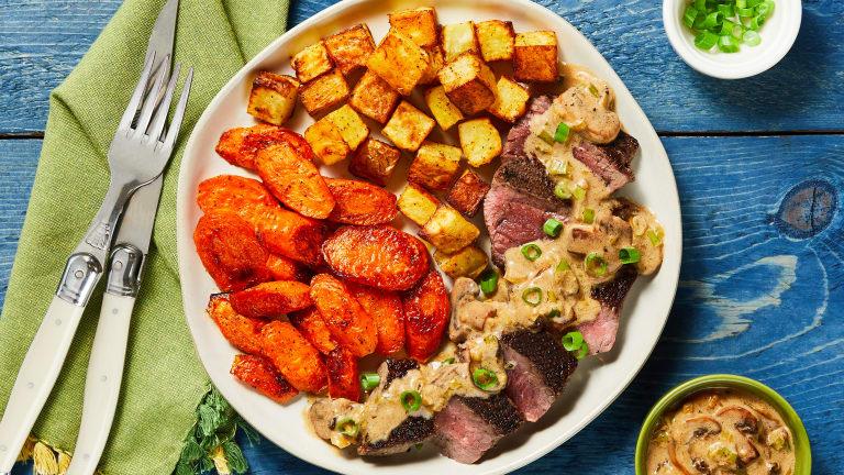 Steak with Mushroom Cream Sauce