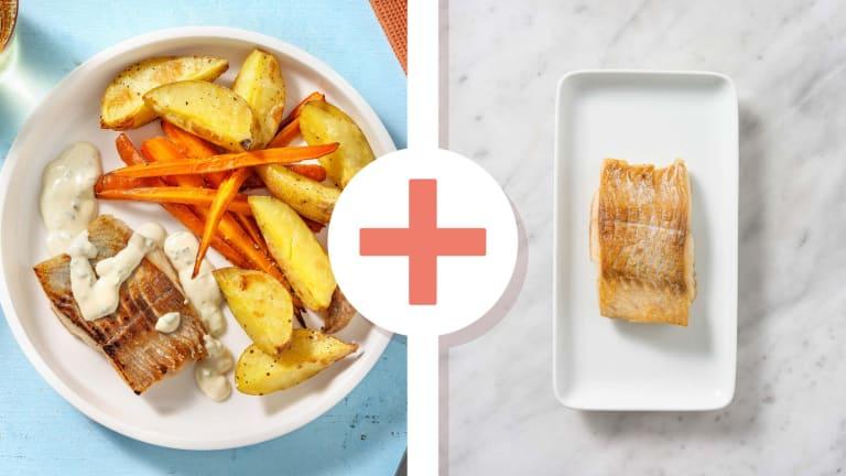 Filet d'églefin en double portion et sauce à la ciboulette