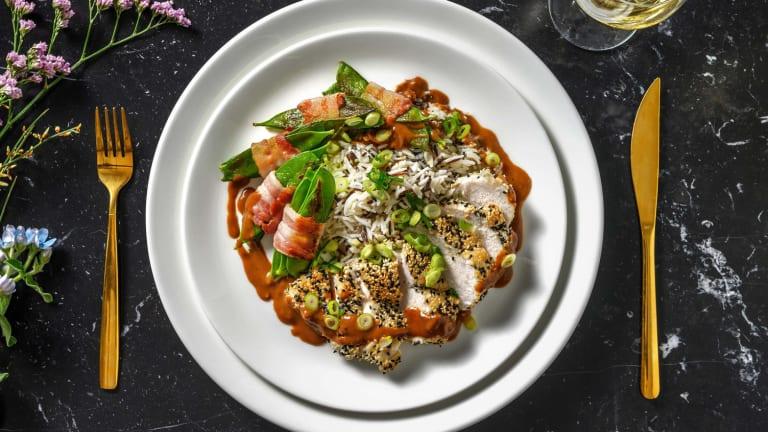 Sesam-Hähnchen mit Hoisin-Erdnuss-Soße
