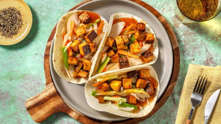 Zoetzure wraps met gemarineerde tofu